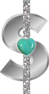 Silver Dollar Sign with Turquoise Heart
