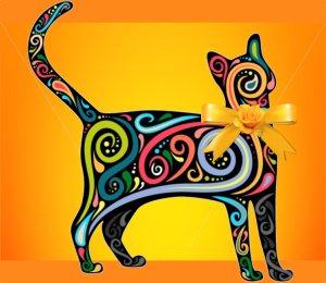 Colorful Cat with Orange and Yellow Background and Yellow Bow